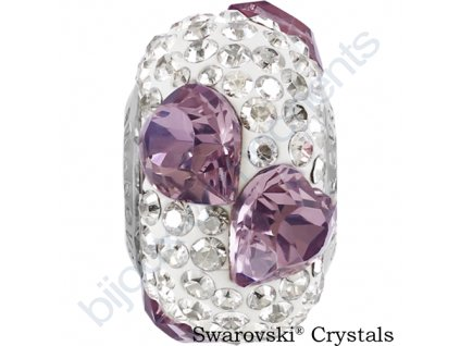 SWAROVSKI CRYSTALS BeCharmed Pavé - white/crystal antique pink, crystal silver shade, steel, 15,5mm