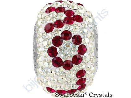SWAROVSKI CRYSTALS BeCharmed Pavé - white/crystal moonlight, ruby, steel, 14,5mm