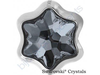 SWAROVSKI CRYSTALS BeCharmed Edelweiss Bead - crystal silver night, 13,5mm