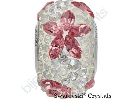 SWAROVSKI CRYSTALS BeCharmed Pavé - white/light rose, white opal, crystal moonlight, steel, 15mm