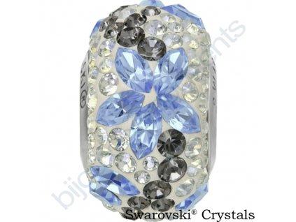 SWAROVSKI CRYSTALS BeCharmed Pavé - white/light sapphire, crystal silver night, crystal moonlight, steel, 15mm