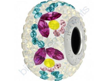 SWAROVSKI CRYSTALS BeCharmed Pavé - white/fuchsia, yellow opal, light rose, indicolite, white opal, steel, 14mm