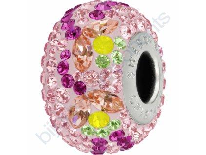 SWAROVSKI CRYSTALS BeCharmed Pavé - rose/rose peach, yellow opal, peridot, fuchsia, light rose, steel, 14mm