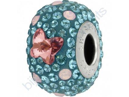SWAROVSKI CRYSTALS BeCharmed Pavé - indicolite/rose peach, rose water opal, indicolite, steel, 14mm