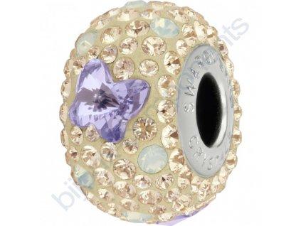 SWAROVSKI CRYSTALS BeCharmed Pavé - pearl silk/provence lavender, white opal, silk, steel, 14mm