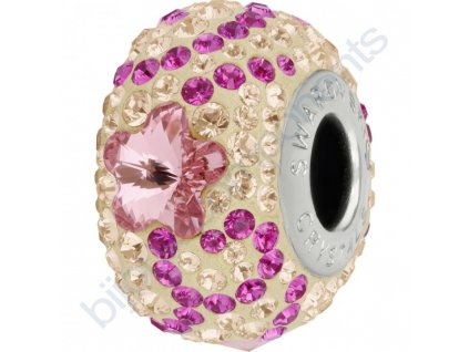 SWAROVSKI CRYSTALS BeCharmed Pavé - pearl silk/light rose, fuchsia, silk, steel, 14mm