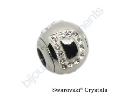 SWAROVSKI CRYSTALS BeCharmed Pavé - písmeno D, stainless steel, 12x11mm