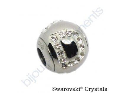SWAROVSKI CRYSTALS BeCharmed Pavé - písmeno D, stainless steel, 12x11mm