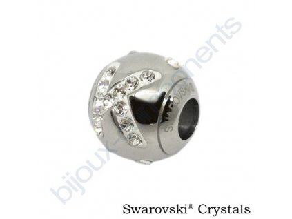 SWAROVSKI CRYSTALS BeCharmed Pavé - písmeno K, stainless steel, 12x11mm