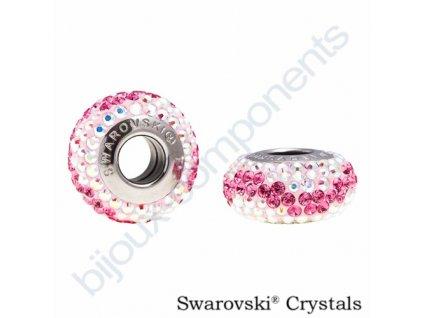 SWAROVSKI CRYSTALS BeCharmed Pavé - bílá/rose, crystal AB, 13mm