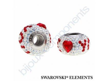 SWAROVSKI ELEMENTS BeCharmed Pavé Den matek - white/crystal moonlight, light siam steel, 14mm