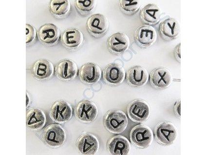 Akrylové korálky s písmenky, stříbrné korálky / černá písmenka