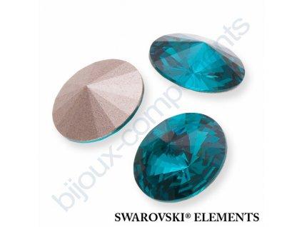 SWAROVSKI CRYSTALS kameny - Rivoli Chaton, blue zircon F, SS47 (cca 10mm)