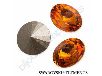 SWAROVSKI ELEMENTS kameny - Rivoli Chaton, tangerine F, SS47 (cca 10mm)