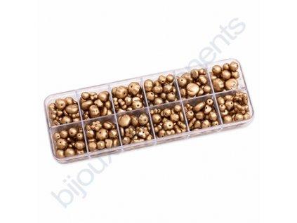 Dárkový set s korálky - zlatý/barvený, mix tvarů a velikostí, cca 150g