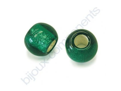Skleněné velkodírové korálky 12mm - zelené/stříbrný průtah