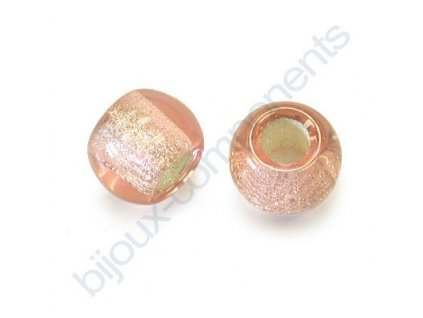 Skleněné velkodírové korálky 12mm - růžové/stříbrný průtah