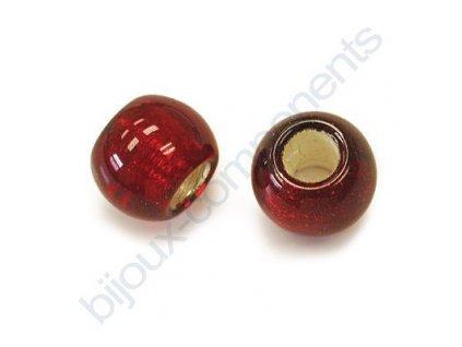 Skleněné velkodírové korálky 12mm - červené/stříbrný průtah