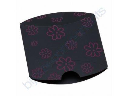 Pouzdro na šperky - černé s růžovým květinovým vzorem