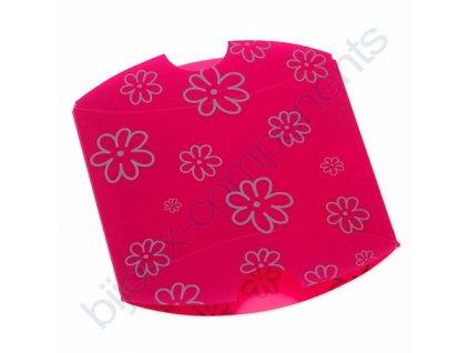 Pouzdro na šperky - růžové se stříbrným květinovým vzorem