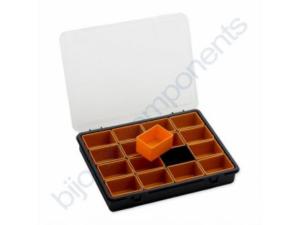 Plastový organizér s vyndávacími přihrádkami - šedo-oranžový