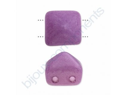 Skleněné korálky mačkané - dvoudírkové pyramidy styl Beadstud, fialové - barvené