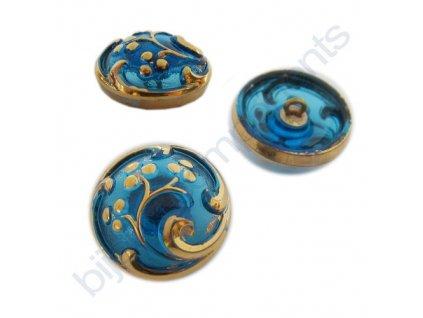 Skleněný knoflík s květinovým motivem, modrý, se zlatým motivem