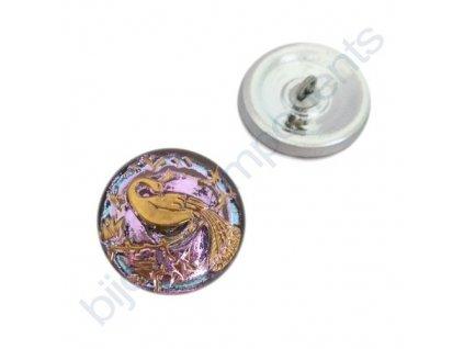Skleněný knoflík s motivem páva, růžový, motiv zlatý