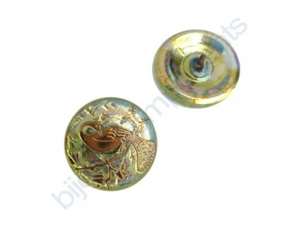 Skleněný knoflík s motivem páva, sv.zelený, motiv zlatý, se spodním pokovem