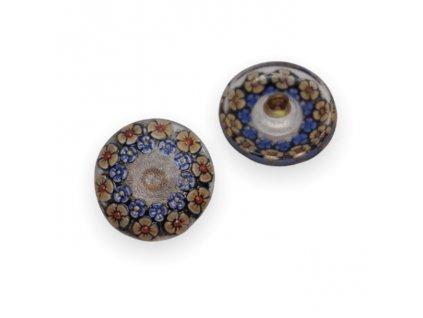 Skleněný knoflík s květinovým motivem, černý, s modrým AB pokovem