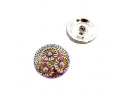 Skleněný knoflík s květinovým motivem, sv.fialový se zlatým vzorem, se spodním pokovem