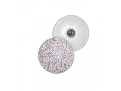 Skleněný knoflík fialkový, motiv zlatý, se spodním pokovem