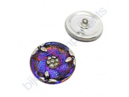 Skleněný knoflík s květinovým motivem, fialovo-modrý, se spodním pokovem, s platinovým zdobením