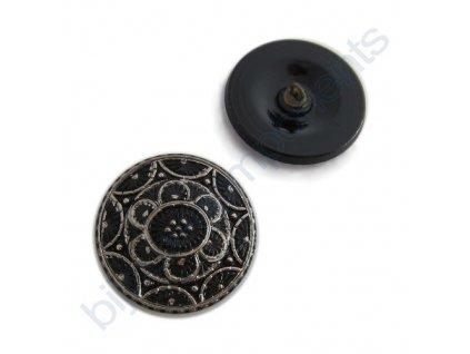 Skleněný knoflík černý s platinovým motivem