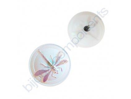 Skleněný knoflík s motivem vážky, matový AB krystal, motiv lesklý, křídla blanitá