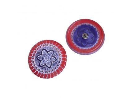 Skleněný knoflík s květinovým motivem, oranžovo-fialový, se spodním pokovem, zlaté zdobení