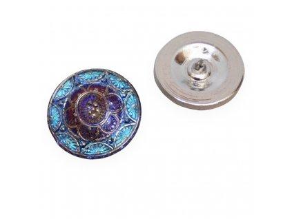 Skleněný knoflík s motivem vážky, metalická bronzová