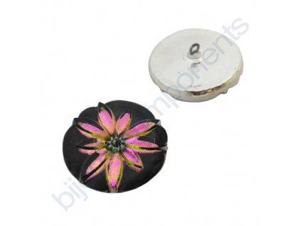Skleněný knoflík s květinovým motivem, černý, květ růžovo-zelený, s platinovým zdobením, se spodním pokovem