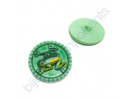 Skleněný knoflík s motivem žáby, zelený, motiv žluto-zelený