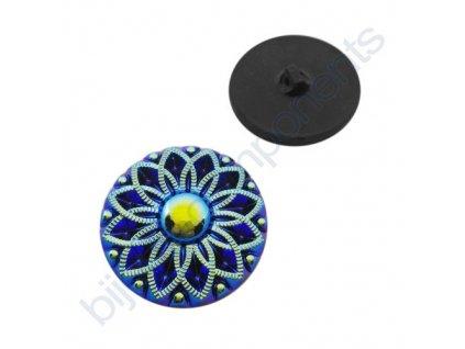 Skleněný knoflík s květinovým motivem, černý, s vrchním modrým AB pokovem