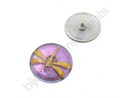 Skleněný knoflík s motivem vážky, fialový, motiv zlatý, spodní pokov