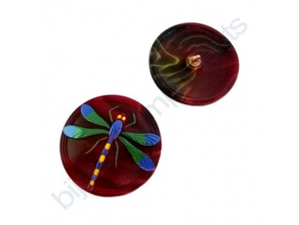 Skleněný knoflík s motivem vážky, vínový, motiv barevný