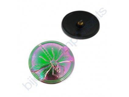Skleněný knoflík s motivem vážky, černý, se zeleno-růžovým vrchním metalickým pokovem