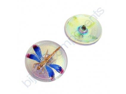 Skleněný knoflík, s motivem vážky, krystal se spodním pokovem, motiv barevný