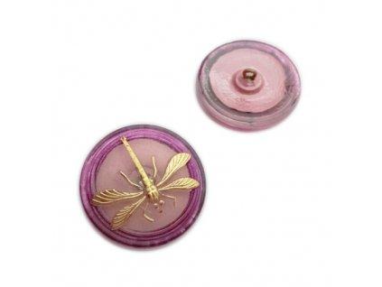 Skleněný knoflík, krystal, motiv platinovo-petrolejový