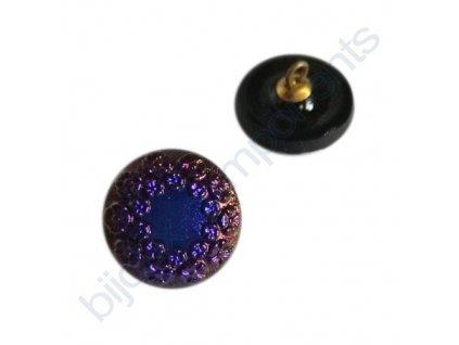Skleněný knoflík s květinovým motivem, černý s modro-fialovým pokovem