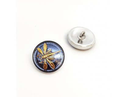 Skleněný knoflík s květinovým motivem , modrý s AB pokovem