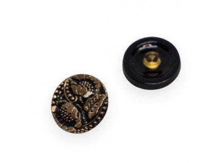 Skleněný knoflík s květinovým motivem , růžový s matným AB pokovem
