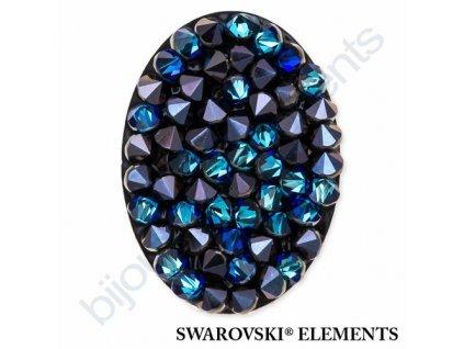 SWAROVSKI ELEMENTS - Crystal fine rocks, transparentní, crystal bermuda blue, 40x30mm