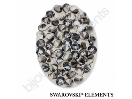 SWAROVSKI ELEMENTS - Crystal fine rocks, transparentní, crystal metalic light gold, 40x30mm